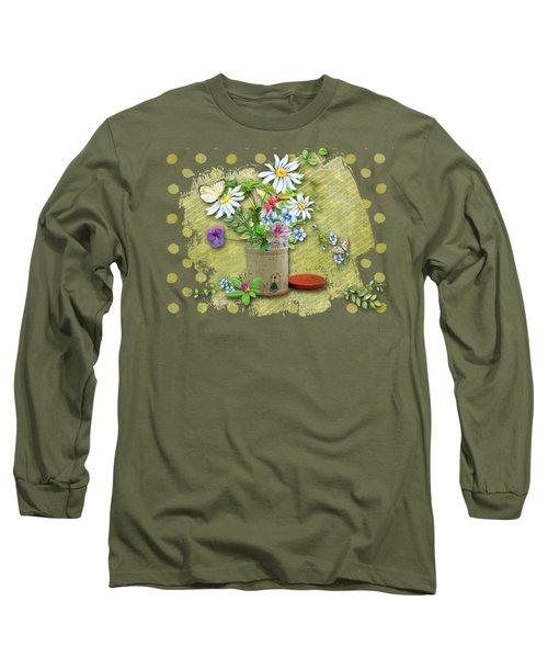 Antique Tin Of Flowers Long Sleeve T-Shirt