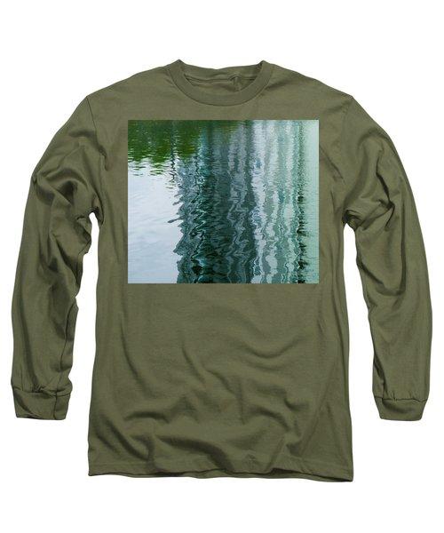 Apartment Building Reflection, Confluence Park, Denver, Colorado Long Sleeve T-Shirt