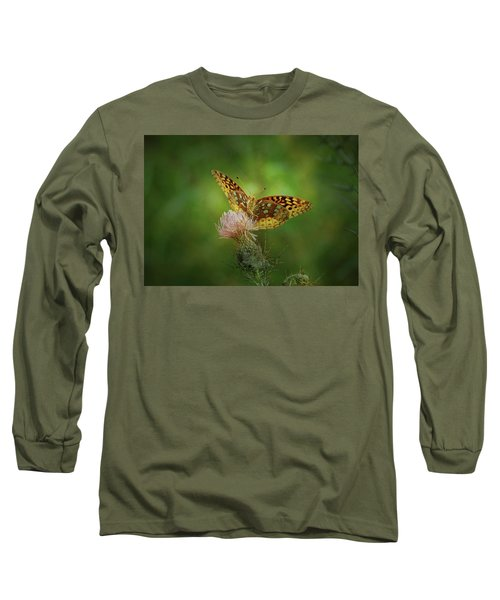Long Sleeve T-Shirt featuring the photograph Aphrodite Fritillary Butterfly by Sandy Keeton
