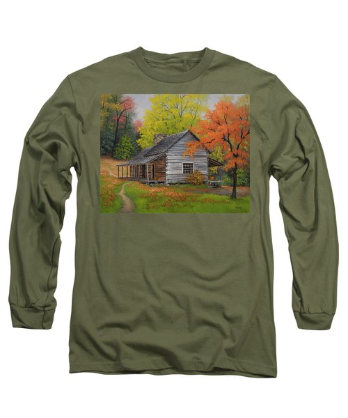 Long Sleeve T-Shirt featuring the painting Appalachian Retreat-autumn by Kyle Wood