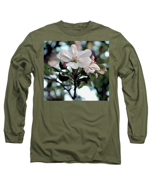 Long Sleeve T-Shirt featuring the painting Apple Blossom Time by RC deWinter