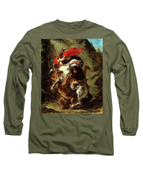 Long Sleeve T-Shirt featuring the painting Arab Horseman Attacked By A Lion by Eugene Delacroix