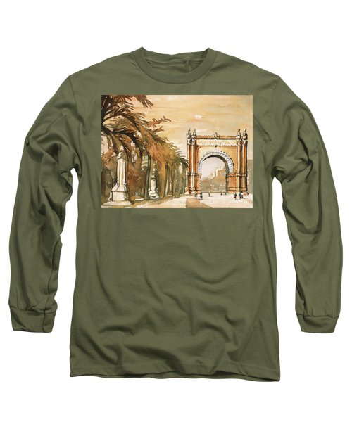 Long Sleeve T-Shirt featuring the painting Arch- Barcelona, Spain by Ryan Fox
