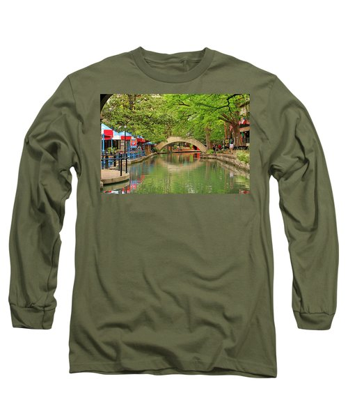 Long Sleeve T-Shirt featuring the photograph Arched Bridge Reflection - San Antonio by Art Block Collections