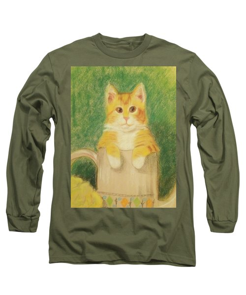 Long Sleeve T-Shirt featuring the drawing Are You Sure It's Ok To Be In Here? by Denise Fulmer