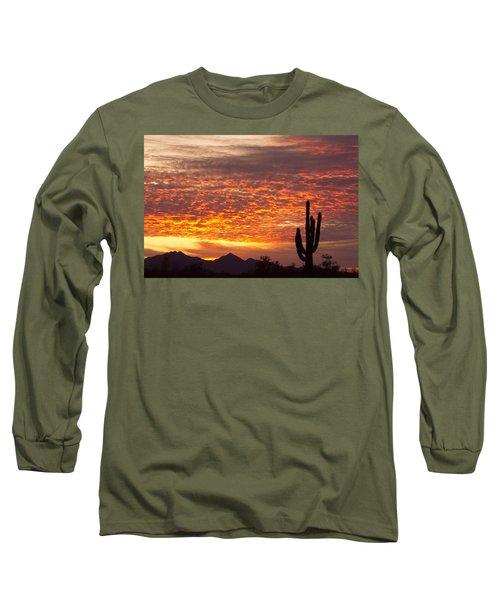 Arizona November Sunrise With Saguaro   Long Sleeve T-Shirt
