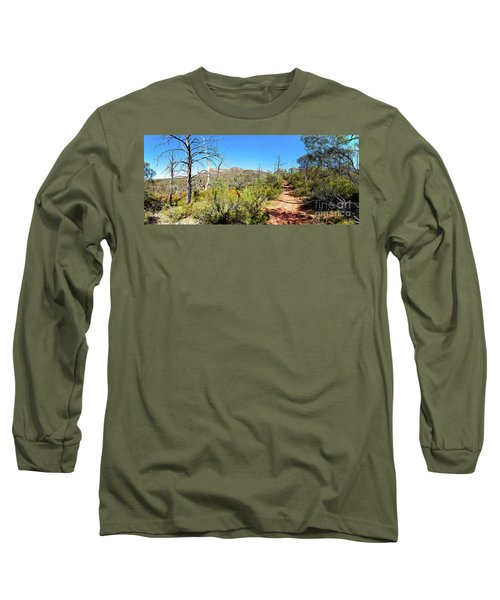 Long Sleeve T-Shirt featuring the photograph Arkaroo Rock Hiking Trail.wilpena Pound by Bill Robinson