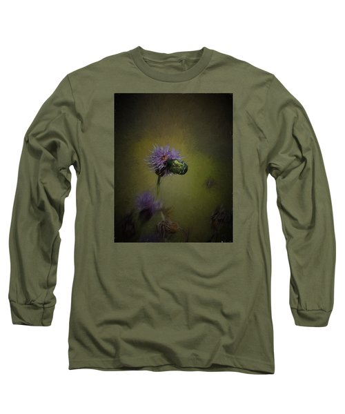 Long Sleeve T-Shirt featuring the photograph Artistic Two Beetles On A Thistle Flower by Leif Sohlman