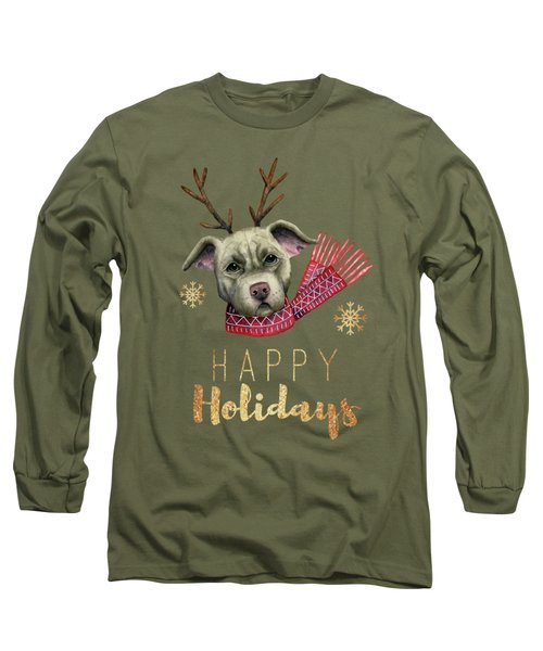 Christmas Reindeer Pit Bull With Faux Gold Fonts Long Sleeve T-Shirt