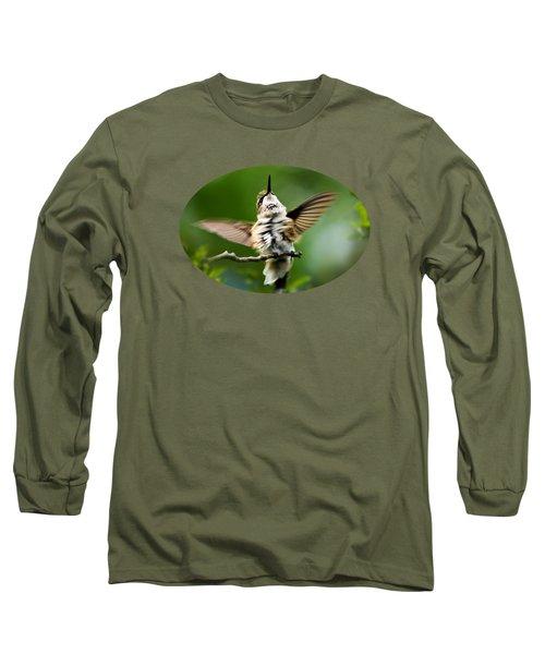 Hummingbird Happy Dance Long Sleeve T-Shirt by Christina Rollo