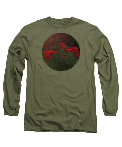 Sunset In The Poppy Garden Long Sleeve T-Shirt by Mary Wolf