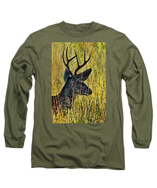 The Buck Rests Here Long Sleeve T-Shirt by Bill Kesler