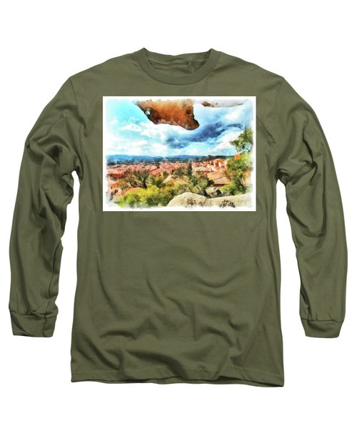 Arzachena Landscape With Rock Snd Clouds Long Sleeve T-Shirt