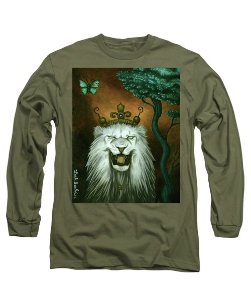 Long Sleeve T-Shirt featuring the painting As The Lion Laughs by Leah Saulnier The Painting Maniac