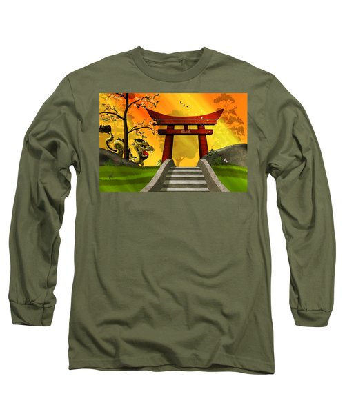 Asian Art Chinese Landscape  Long Sleeve T-Shirt by John Wills