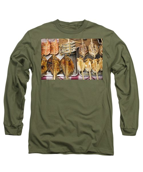 Asian Grilled Barbecued Seafood In Kep Market Cambodia Long Sleeve T-Shirt