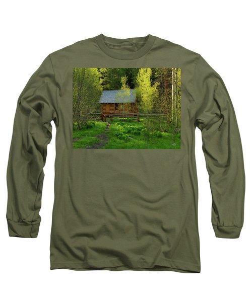 Aspen Cabin Long Sleeve T-Shirt by Leland D Howard