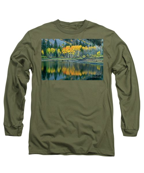 Aspens In Fall Color Along Lundy Lake Eastern Sierras California Long Sleeve T-Shirt by Dave Welling