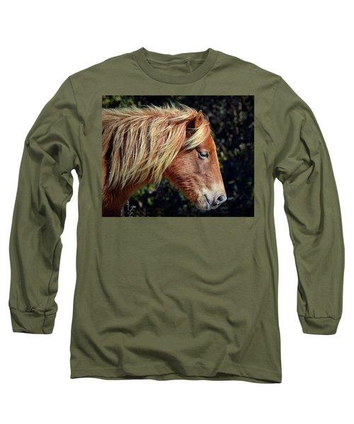 Assateague Horse Sarah's Sweet Tea Right Profile Long Sleeve T-Shirt