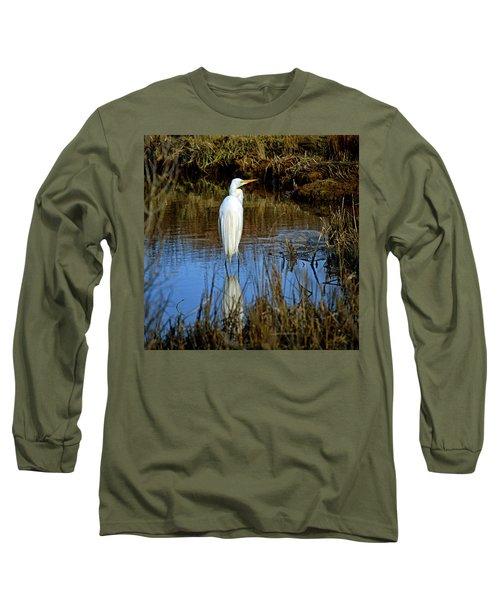 Assateague Island Great Egret Ardea Alba Long Sleeve T-Shirt