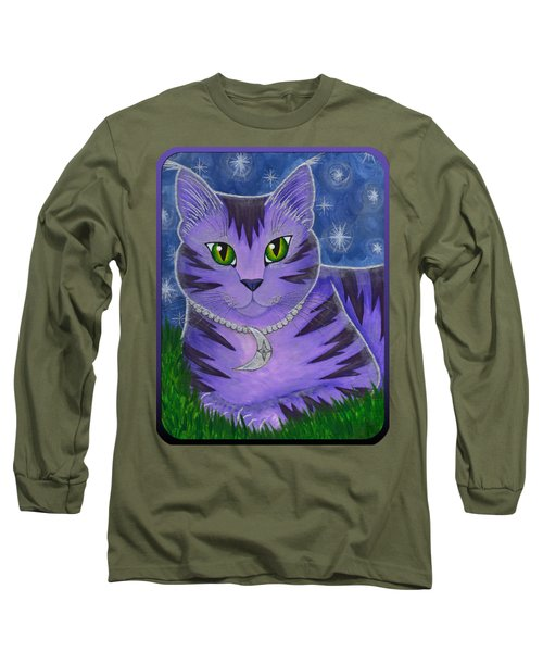 Long Sleeve T-Shirt featuring the painting Astra Celestial Moon Cat by Carrie Hawks