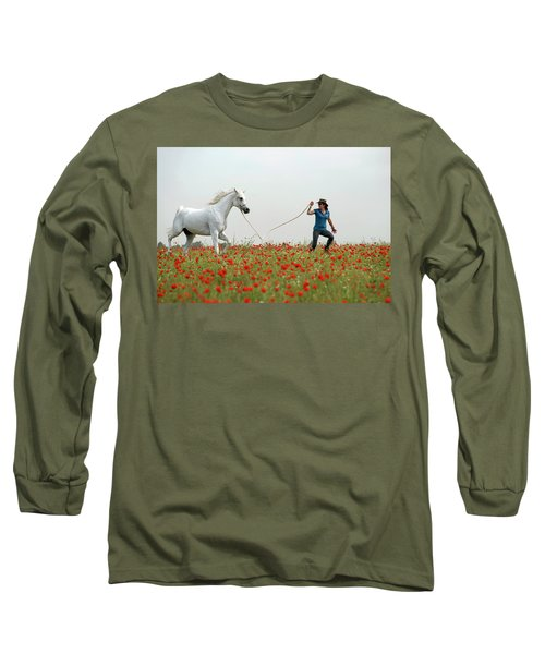 At The Poppies' Field... 2 Long Sleeve T-Shirt by Dubi Roman