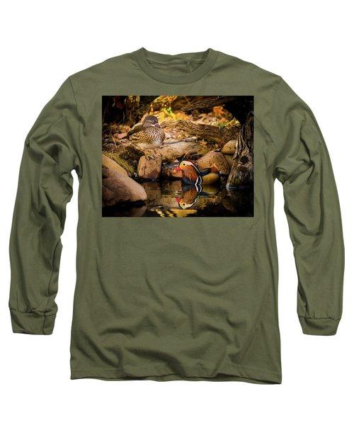 At The Waters Edge - Mandarin Ducks Long Sleeve T-Shirt