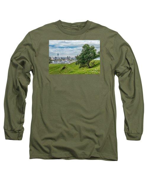 Auckland Skyline Long Sleeve T-Shirt by Martin Capek