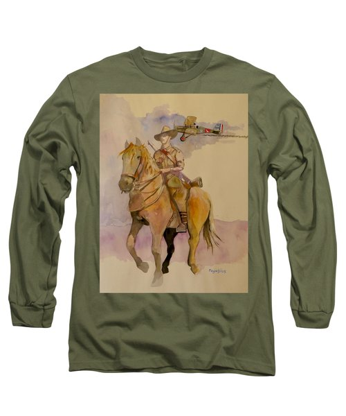 Long Sleeve T-Shirt featuring the painting Australian Light Horse Regiment. by Ray Agius