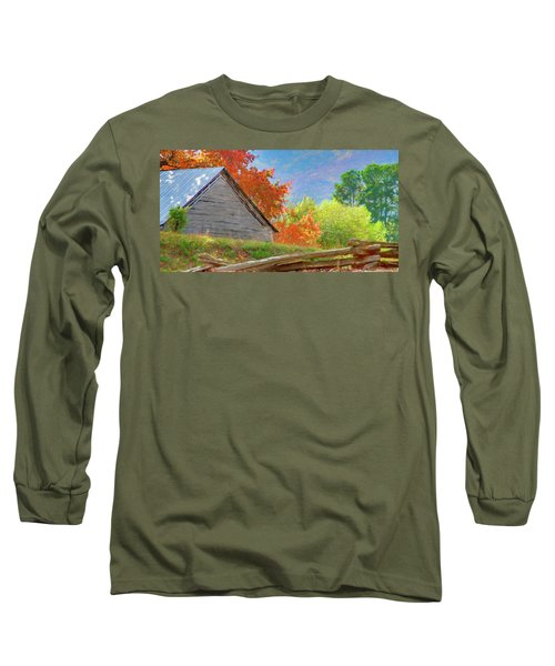 Autumn Barn Digital Watercolor Long Sleeve T-Shirt
