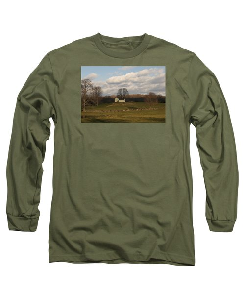 Autumn Barn On The Meadow Long Sleeve T-Shirt by Margie Avellino