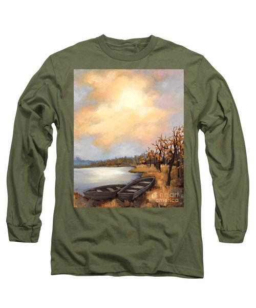 Long Sleeve T-Shirt featuring the painting Autumn Boats by Inese Poga
