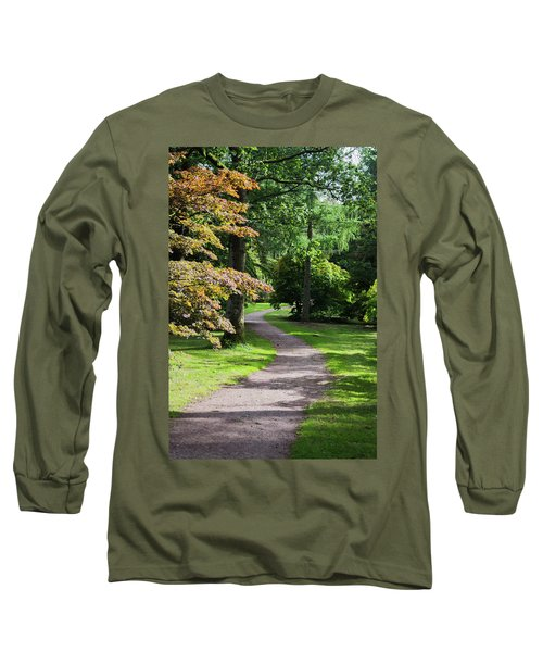 Long Sleeve T-Shirt featuring the photograph Autumn Forest Path by Scott Lyons