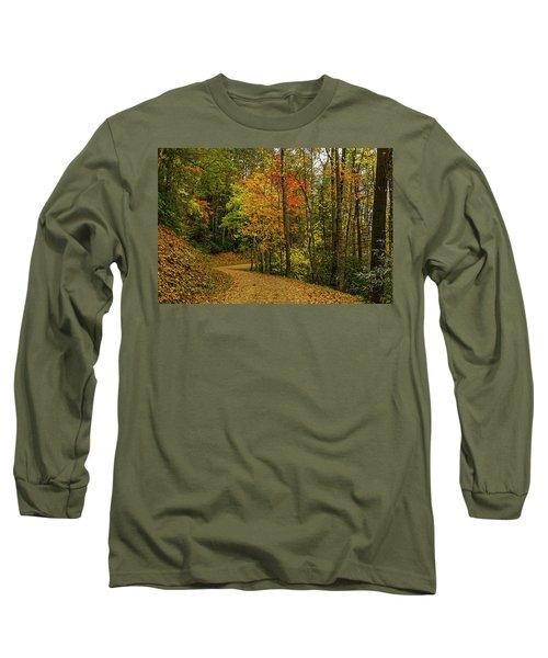 Autumn Forest Road. Long Sleeve T-Shirt by Ulrich Burkhalter