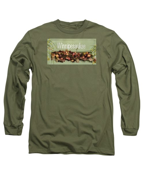 Long Sleeve T-Shirt featuring the photograph Autumn Lake Winnipesaukee Sign Fall by Betty Denise