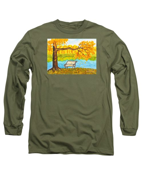 Autumn Landscape With Tree And Bench, Painting Long Sleeve T-Shirt