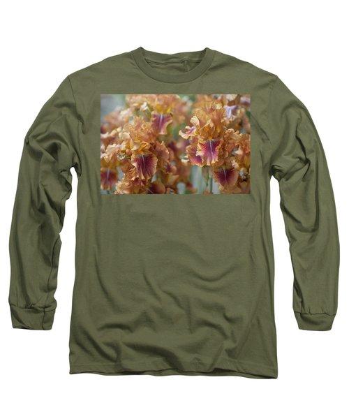 Autumn Leaves Irises In Garden Long Sleeve T-Shirt