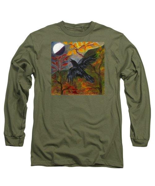 Autumn Moon Raven Long Sleeve T-Shirt by FT McKinstry