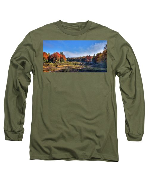 Long Sleeve T-Shirt featuring the photograph Autumn Panorama At The Green Bridge by David Patterson