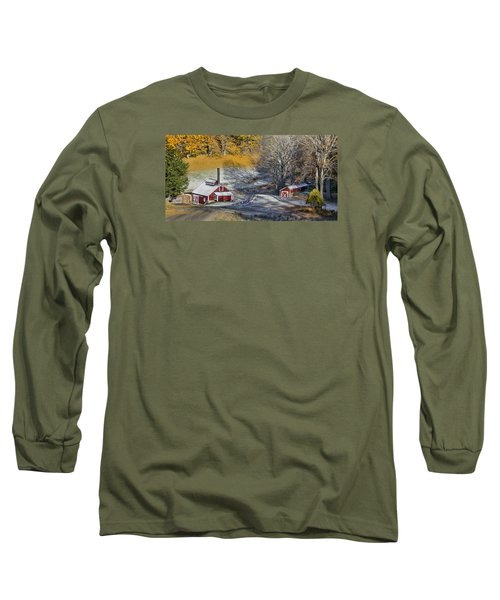 Long Sleeve T-Shirt featuring the photograph Autumn Snow On Sugar Shack, Reading, Vt by Betty Denise