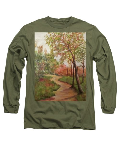 Long Sleeve T-Shirt featuring the painting Autumn Walk by Roseann Gilmore