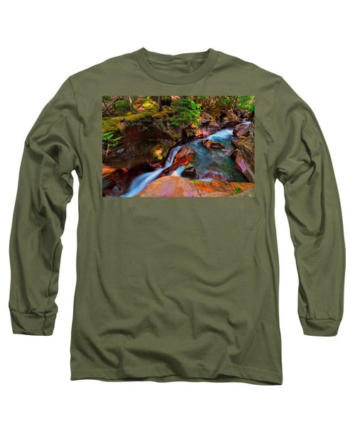 Long Sleeve T-Shirt featuring the photograph Avalanche Creek by Greg Norrell