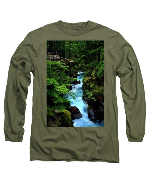 Avalanche Creek Waterfalls Long Sleeve T-Shirt