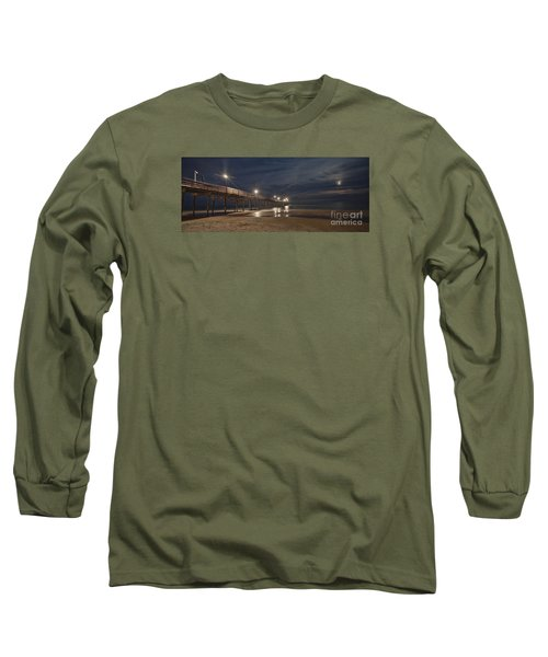 Avon Pier At Night Long Sleeve T-Shirt by Laurinda Bowling