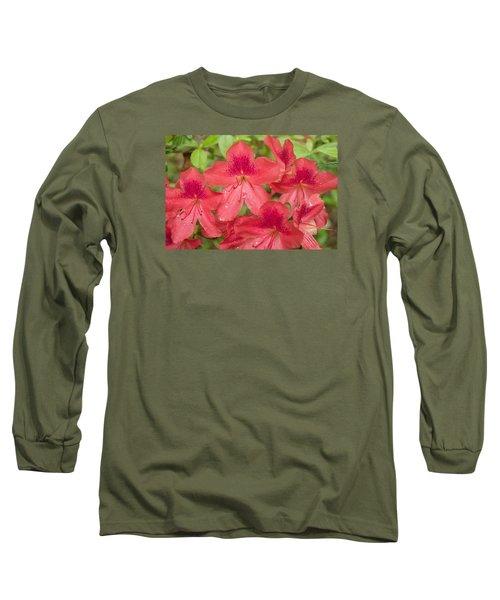 Azalea Blossoms Long Sleeve T-Shirt by Linda Geiger