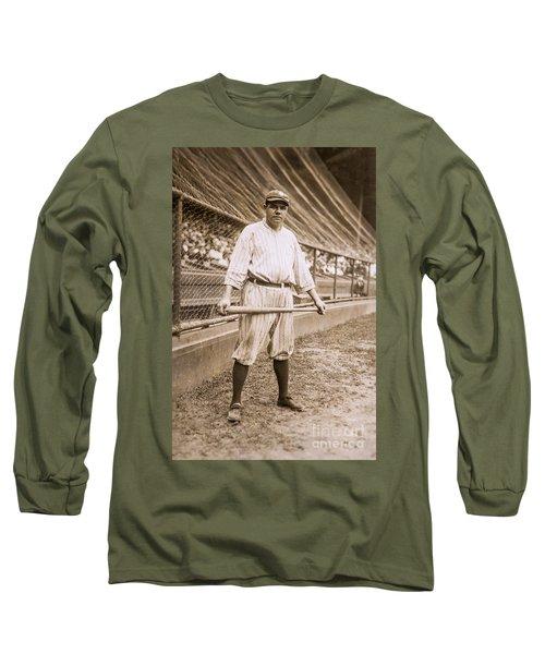 Babe Ruth On Deck Long Sleeve T-Shirt by Jon Neidert