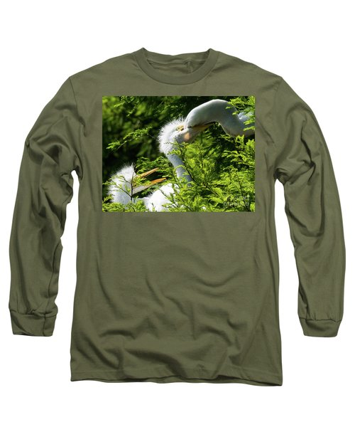 Baby Egrets Being Feed Long Sleeve T-Shirt