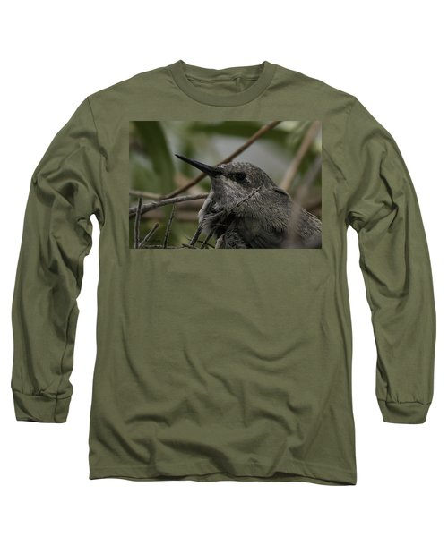 Long Sleeve T-Shirt featuring the photograph Baby Humming Bird by Lynn Geoffroy