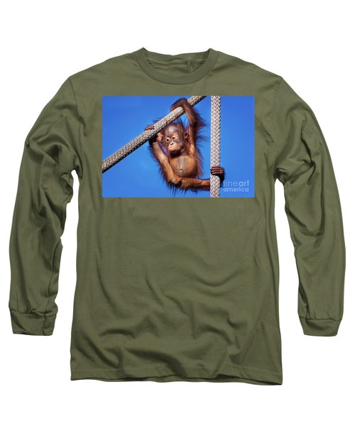 Baby Orangutan Hanging Out Long Sleeve T-Shirt by Stephanie Hayes