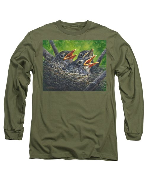 Long Sleeve T-Shirt featuring the painting Baby Robins by Kim Lockman